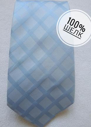 Голубой галстук в квадраты из натурального шелка