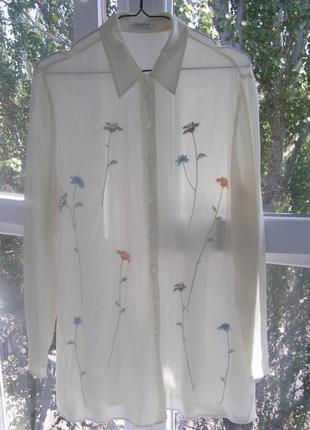 100% шелковая блуза с вышивкой от platinum 16-размер