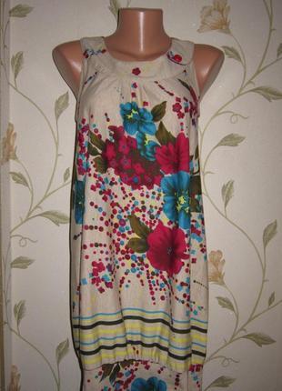Веселое платье сарафан мини цветочный принт тонкий трикотаж pu...