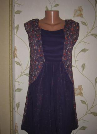 Фиолетовое 2-слойное платье мини яркий принт шифон secret weekend