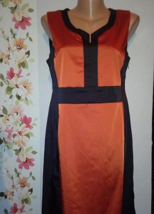 Черное облегающее платье миди 2 biz без рукавов с терракотовым...