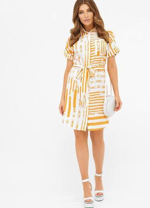 Летнее платье - рубашка с принтом