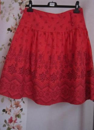 Красно-коралловая летняя юбка с кокеткой