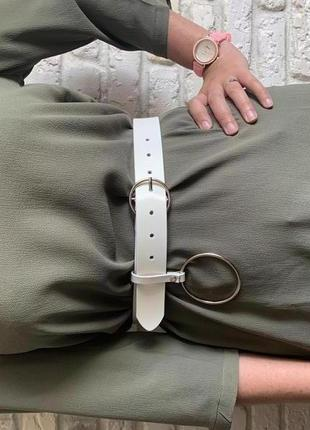 Женский пояс на талию, ремень из эко кожи с крупным кольцом мо...