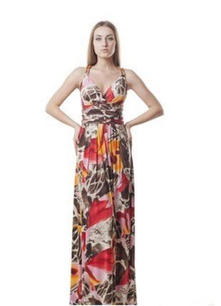Платье женское летнее с открытой спинкой длинное яркой расцветки