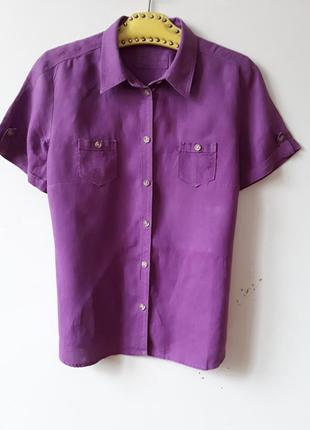 Льняная фиолетовая рубашка