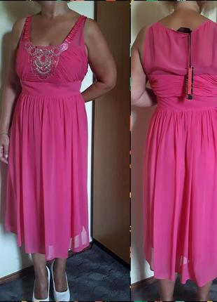 Розовое шифоновое платье на выпускной