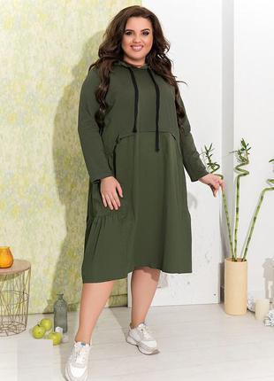 Платье-свитшот с капюшоном хаки