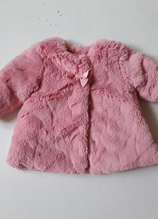 Розовая  демисезонная шубка