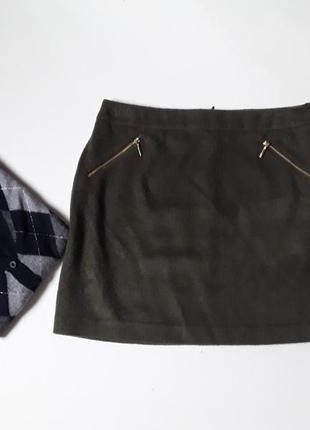 Шерстяная    юбка-трапеция цвета хаки  с карманами на молнии