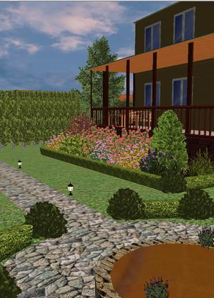 Ланшафтный Дизаин.Озеленение.Газон.Укладка тротуарки,песчаника