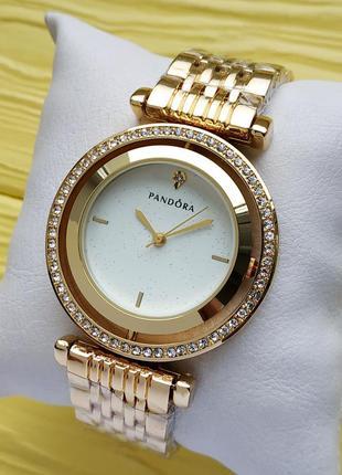 Женские наручные часы золотого цвета, белый циферблат с блестками