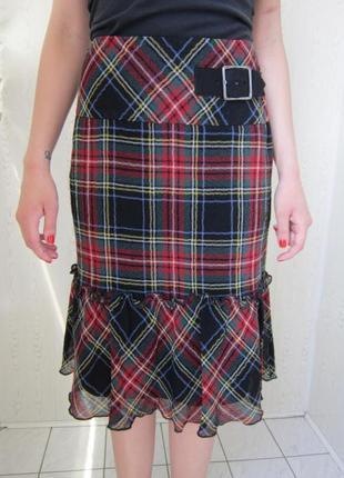 Шерстяная юбка в шотландскую клетку- sks-