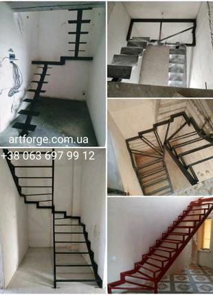 Лестница из металла. Каркас лестницы. Кованые и сварные перила.