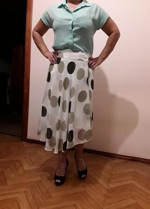 Шифоновая юбка в горох с блузкой в подарок