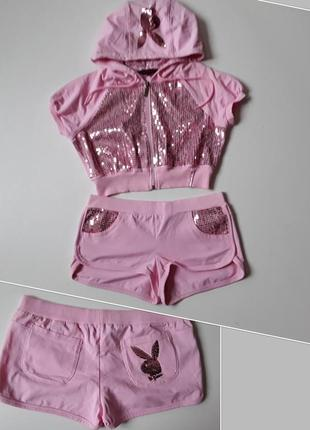 Розовый комплект  пайетки  playboy💗