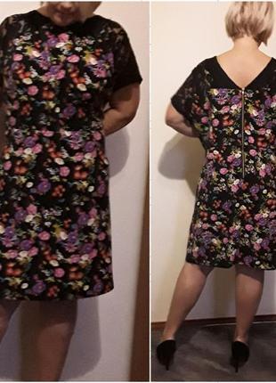 Платье в цветах с кружевом большого размера