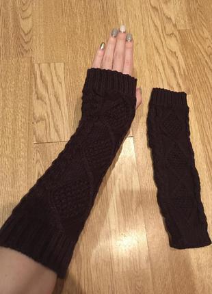 Вязаные темно-фиолетовые митенки ручной работы новые перчатки ...
