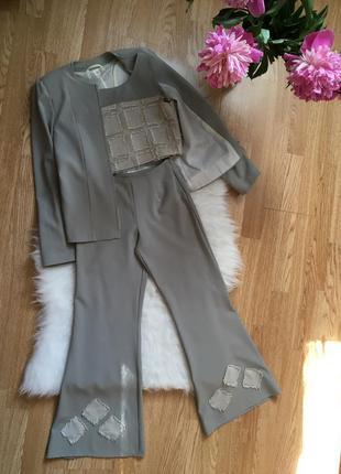 Костюм тройка на девочку 140рост,штаны клёш кроп топ пиджак