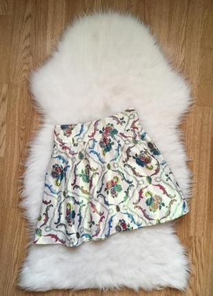 Цветная юбка трапеция вискоза турецкие огурцы,юбочка цветочный...