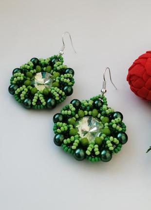 Серьги из бисера «зелень»