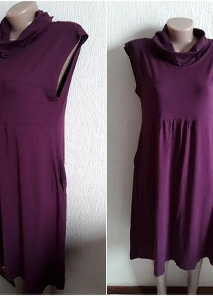 Трикотажное бордовое платье в стиле бохо