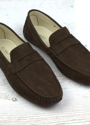 Коричневые летние мокасины замшевые обувь больших размеров муж...