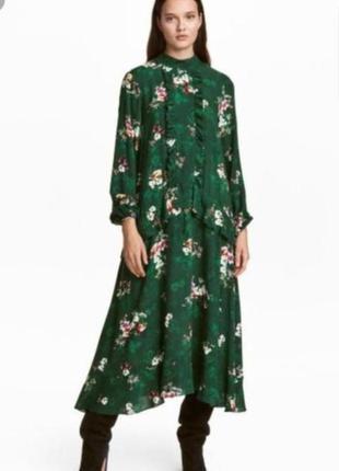 Стильное платье миди h&m в цветочный принт, с оборками.