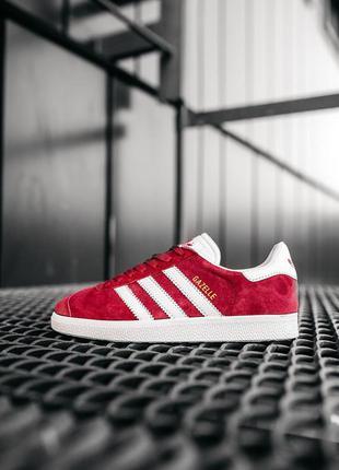 Женские стильные кроссовки адидас газель красные, adidas gazelle