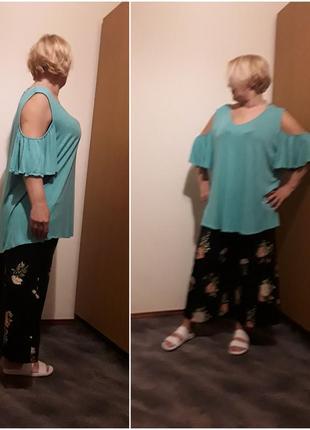 Трикотажная мятная блузка большого размера