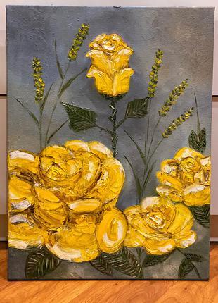 """картина маслом """"Желтые розы"""""""