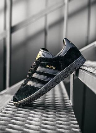 Мужские чёрные кроссовки адидас газель, adidas gazelle black, ...
