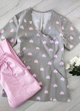 Костюм медицинский с принтом, блуза