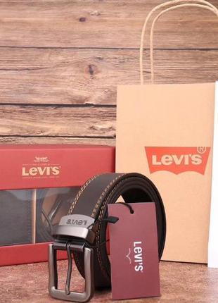Мужской подарочный набор levis кошелек ремень кожа