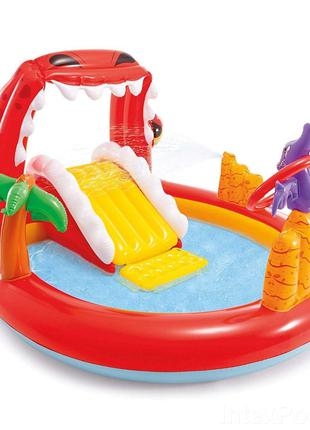 Детский надувной игровой центр с горкой Дино Intex 57163, 196x170