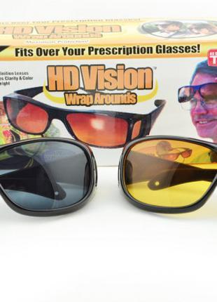 Антибликовые очки для водителей HDVision, комплект 2в1 день/ночь