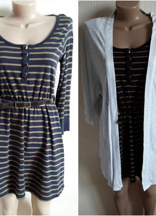 Платье  в морском стиле с поясом 3/4 рукав  от  review