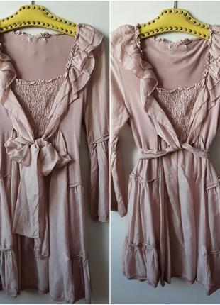Платье /туника  хлопковое с трикотажем