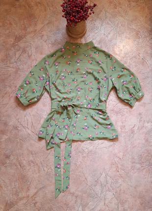 Блуза в цветочный принт, вырез на спинке, на завязках fashi...