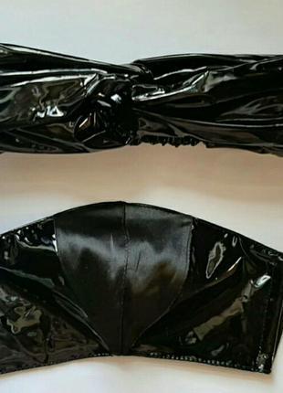 Комплект:защитная маска+ повязка на голову ( черные)