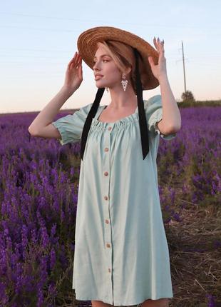 Бирюзовое мятное платье лен