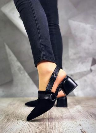 ❤ женские  черные замшевые мюли туфли   босоножки  ❤