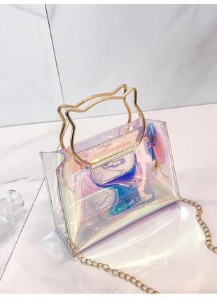 Сумка неоновая, полупрозрачная сумка, сумка с котом