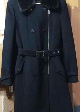 Пальто albana стильное с натуральным мехом