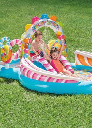 Детский надувной игровой центр Intex 57149 Карамелька, с шариками