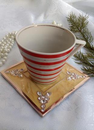 Подставка под горячее (чашку, свечу) металлическая в эмали стр...