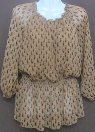 Блузка женская рыжая, в кошках. С длинным рукавом. Летняя. Дешево