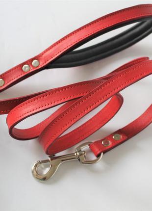"""Кожаный поводок для собаки """"Lockdog"""" 1.5 м красный"""