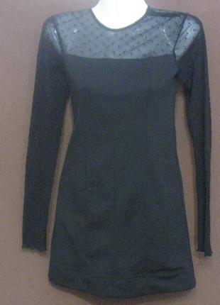 Платье женское короткое чёрное с гипюровыми рукавами. Бюджетно