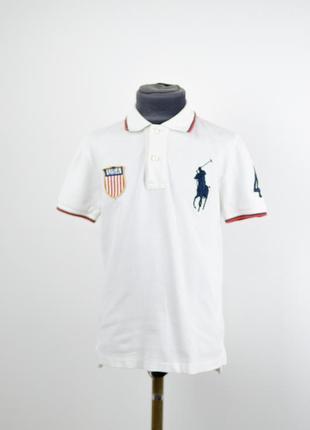 Polo ralph lauren белая поло футболка с вышитым всадником, тен...